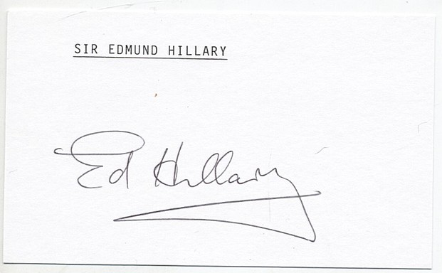Hillary, Sir Edmund - signed card<b> SOLD